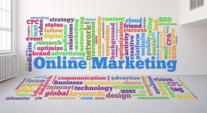 Tag Cloud zum Thema Online Marketing an Wand