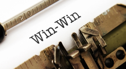 Win win text on typewriter